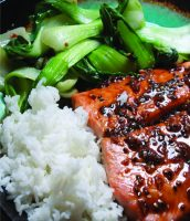 Black pepper Grilled Salmon with Bok Choy and Rice copy
